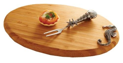 Mud Pie Seahorse Bamboo Board with Cocktail Fork, 10-Inch by