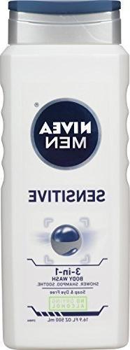 Nivea Men Sensitive 3-in-1 Body Wash 16.9 Ounces