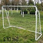 Set Soccer Goal 8' x 8' ft Football w/ Net Straps Outdoor,