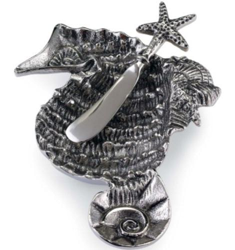Shaped Seahorse Metal Dip Cup and Starfish Spreader Set of 2