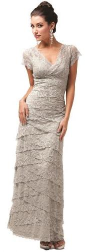Meier Women's Short Sleeve Lace Mother of Bride Evening
