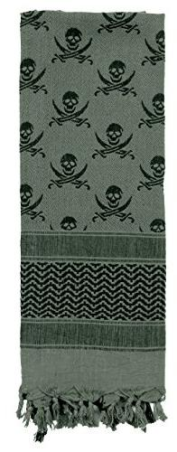 Rothco Skulls Shemagh Tactical Desert Scarf, Foliage/Black