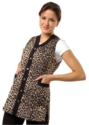 Sleeveless Leopard Salon Smock