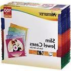 Memorex Slim CD Jewel Case 5mm Assorted Colors,100-Pack