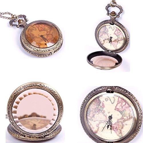 Smart applied Vintage Retro World Map Pattern Quartz Chain