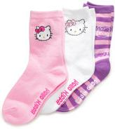 Hello Kitty Kids Socks, Girls EDV 3 Pack Crew Socks