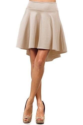 12 Ami Solid Basic Flared Stretch Waist High Low Skirt Royal