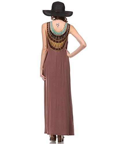LOVE IN womens SOLID SLEVEELESS ROUND NECK MAXI DRESS WITH