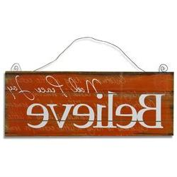 Adeco SP0172 Decorative Wood Sign Believe Vintage Style