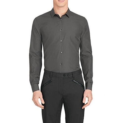 Calvin Klein Men's Fancy Dobby with Spread Collar Long