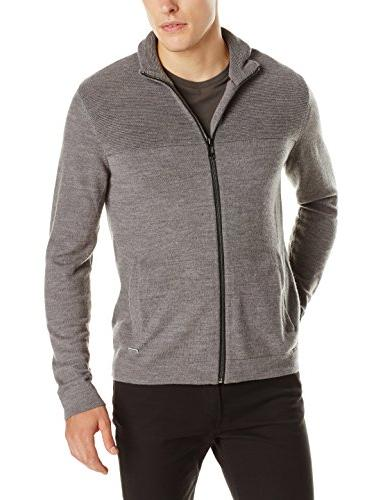 Calvin Klein Men's Merino Premium 12 GG Full Zip Sweater,