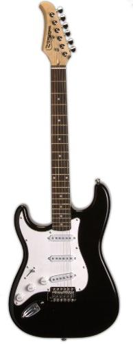 Silvertone SS15 BLK Solid-Body Electric Guitar, Gloss Black