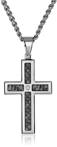 Men's Stainless Steel and Carbon Fiber Cross with Diamond