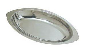 12 oz.  Stainless Steel Oval Au Gratin Serving Dish Pan