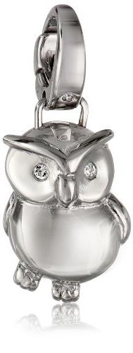 Fossil Stainless Steel Owl Charm