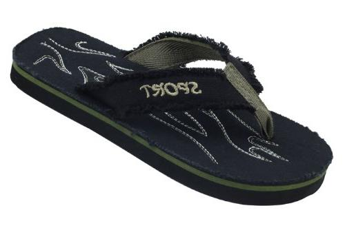 New Starbay Brand Men's Black Light Weight Canvas Flip Flops