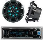 """Marine Bluetooth Radio, 2x Kicker 6.5"""" LED Boat Speakers"""