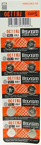 Strip of 10 Fresh Maxell LR1130  1.5v Alkaline Batteries