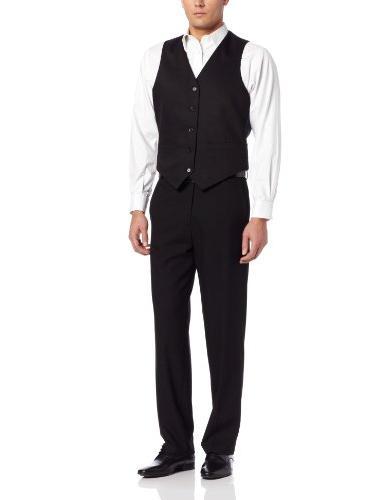 Dockers Men's Suit Separate Vest, Black Stripe, Large