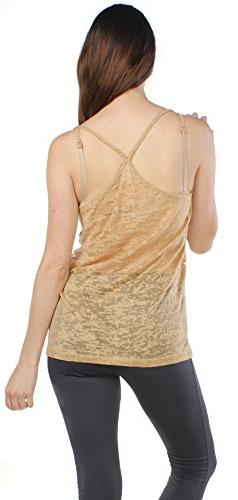 Emmalise Women's Summer Fashion Burnout Diagonal Traps Tank
