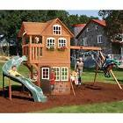 Cedar Playhouse Tree House Playset Wooden Kids With Swing