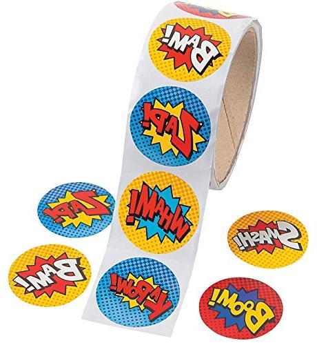Fun Express Superhero Sticker Roll - 100 pieces