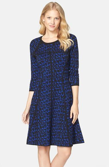 Women's  Sweater Knit Fit & Flare Dress, Size Large - Blue