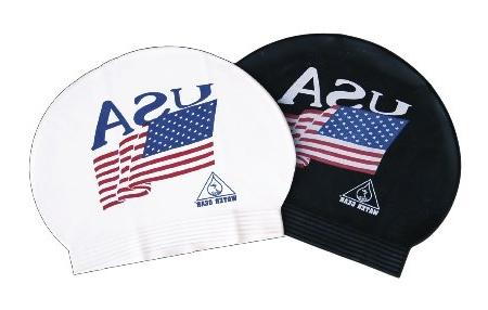 WATER GEAR USA Flag Latex Swim Cap - Black