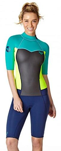 2mm Women's Roxy SYNCRO Shorty Springsuit - Blue/Green, 2