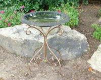 TDI Brands TDI48184B Green Fiber Clay Birdbath With Metal