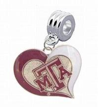 Texas A&M Aggies Swirl Heart Charm with Connector -