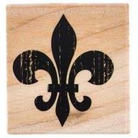 Textured Fleur-De-Lis Rubber Stamp