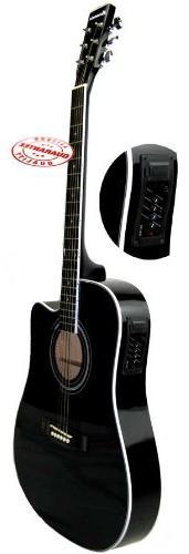 Harmonia Thinbody Acoustic Electric Guitar Black W-0195CE-BK