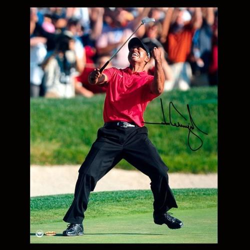 Tiger Woods Autographed 2008 US Open Artwork by Malcom