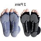 2 Pairs Toeless Half Toe Yoga Socks with Anti Slip Grip for