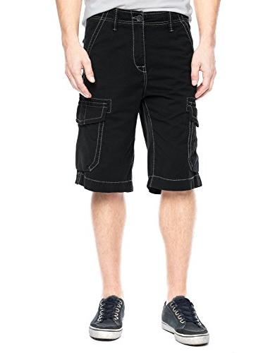 True Religion Men's Trooper Cargo Shorts Black 42