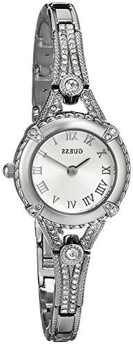 GUESS Women's U0135L1 Petite Silver-Tone Watch with Silver