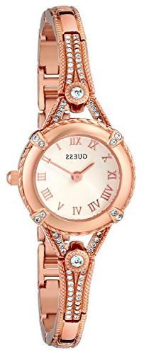 GUESS Women's U0135L3 Petite Rose Gold-Tone Watch with White