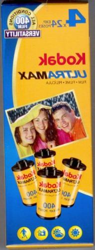Kodak UltraMax Film 4 Rolls 24 Exposure 35mm Film ISO 400