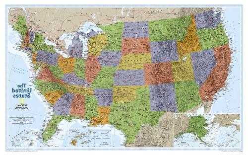 United States, USA US Classic Wall Map Poster Mural