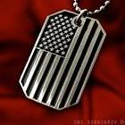 US FLAG SUBDUED COLOR BLACK-WHITE DOG TAG PENDANT ARMY BALL