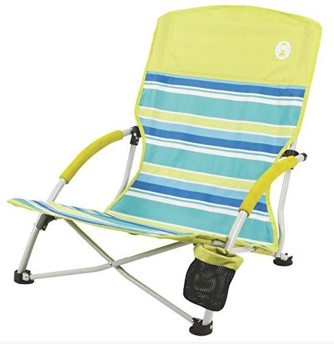 Coleman Utopia Breeze Beach Low Sling Camping Chair w/ Cup