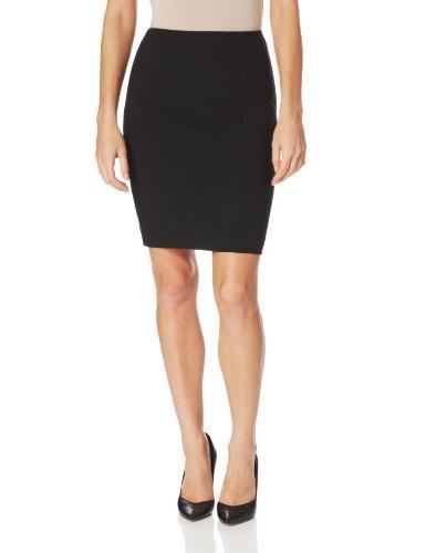 Women's Vertical Side Seam Detail Suit Skirt, Onyx, 16