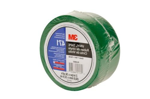 3M Vinyl Tape 471 Green, 2 in x 36 yd, Conveniently Packaged