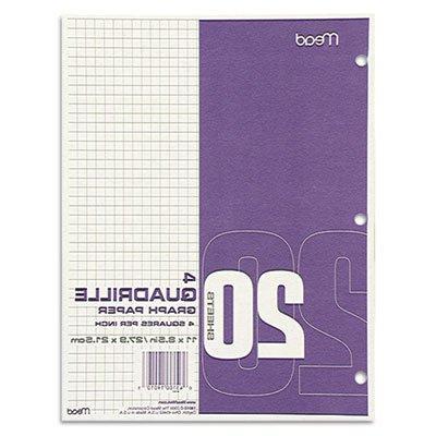 Quadrille Graph Paper, Quadrille , 8 1/2 x 11, White, 12