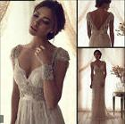 New White/ Ivory Wedding Dress Vintage Lace Bridal Gown Size