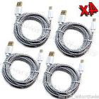 4x 6Ft White Micro USB Charger Cable Nylon Braided Sync for