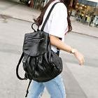 Women Leather Backpack Travel Handbag Student Rucksack Black