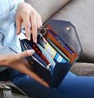 Womens RFID Blocking Fashion Lady Women Clutch Leather Long