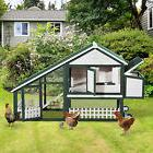 "Pawhut 77"" Wooden Chicken Coop Hen Portable Poultry House"